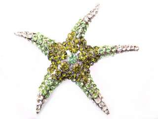 Peridot Green SWAROVSKI CRYSTAL Sea STARFISH PIN BROOCH
