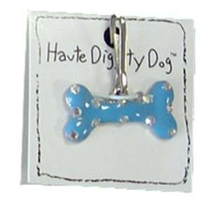 Dog Tags   Bone Dog Tag by Haute Diggity Dog   Blue with Silver Dots