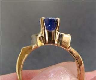 Vintage 14k Yellow Gold Ladies Tanzanite Diamond Ring