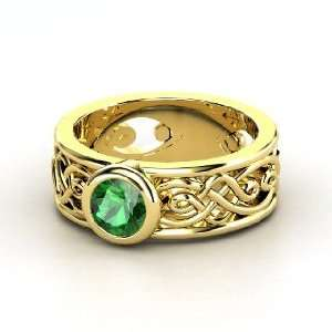 Alhambra Ring, Round Emerald 14K Yellow Gold Ring Jewelry