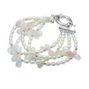 4 Strand Genuine Freshwater Pearl and Rose Quartz Sterling