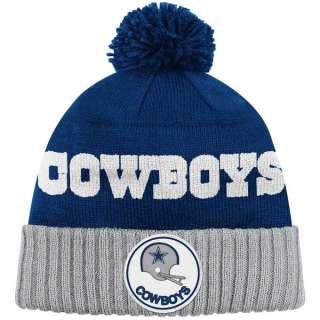 Dallas Cowboys Blue Mitchell & Ness Throwbacks Cuffed Pom Knit Hat