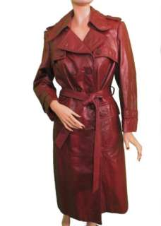 Vtg 80s Military Soft Leather Spy Trench Dress Coat M