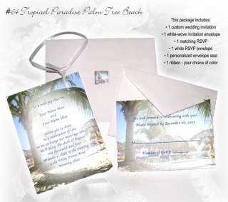 Tropical Beach Shoreline Custom Wedding Invitations