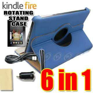 Purple  Kindle Fire Leather Case/Stylus/Car Charger/USB Cable