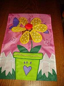 Mini Garden Flag with Spinning Pinwheel Accent , Flower Pot Design
