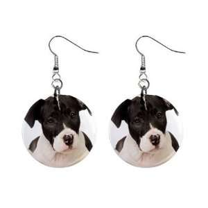 American Staffordshire Puppy Dog Button Earrings A0015