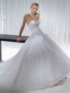ivory Organza Beaded Wedding Dresses/Gowns Size6 8 10 12 14 16