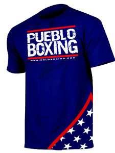 PUEBLO BOXING USA Flag BLUE Champion JACO MMA t shirt Cleto Reyes
