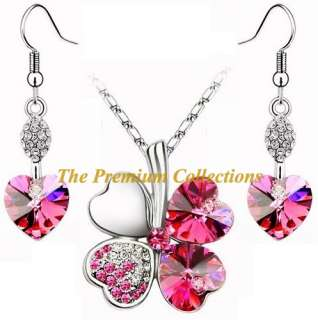 Swarovski Crystal Clover Necklace Earrings Set Pink