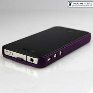 PURPLE METAL Ultra Thin Case Cover Bumper Apple iPhone 4 with BLING
