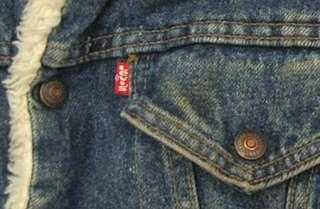 vtg Levis SHERPA LINED 80s BLUE DENIM Jacket Youth M usa trucker jean