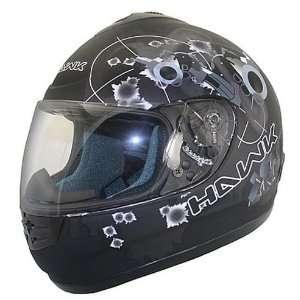 HAWK Matte Black Guns and Bullets Full Face Motorcycle Helmet
