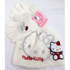 White Hello Kitty Beanie Hat with Glove Set