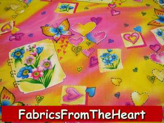 Butterfly Garden Flowers Hearts Pink Roses YDS Fabric