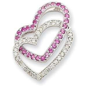 14k Gold White Gold Pink Sapphire & Diamond Chain Slide Jewelry