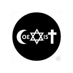 Pinback Button 1.25 Pin / Badge Black & White RELIGION PEACE ISRAEL