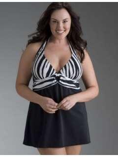 LANE BRYANT   Black and zebra print swim dress