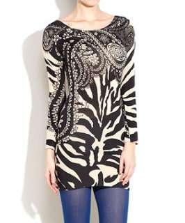 Black Pattern (Black) Apricot Floral Animal Print Dress  242389009