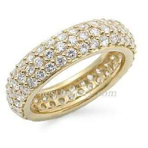 INSPIRED CZ RINGS   Sterling Silver Gold Plated Pave CZ Eternity Ring