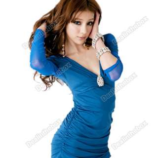 Korea Womens Sexy Slim Fit Blending Series Clubwear Mini Dress Deep V