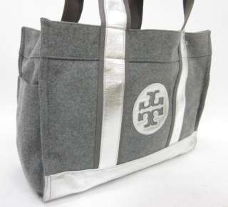 TORY BURCH Gray Wool Flannel Silver Tone Large Tote Casual Shoulder