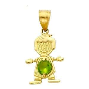14K Yellow Gold August CZ Birthstone Boy Charm Pendant for