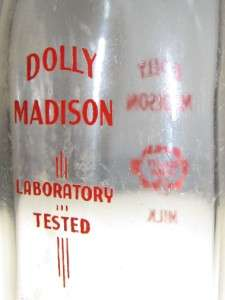 vintage~Dolly Madison~Half Pint~Milk Bottle~Laboratory Tested~clear