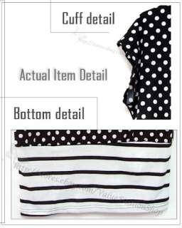 Korean Fashion Womens Summer Stretch Cotton Striped Tunic Micro Mini