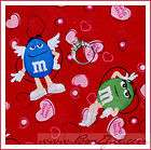 BOOAK Fabric Valentine LOVE *Candy Heart MnMs Chocolate Red Rainbow
