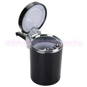 Car Fireproof Smokeless Ashtray Bule LED light + Holder