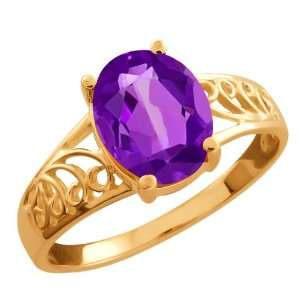 1.66 Ct Oval Purple Amethyst 18k Rose Gold Ring Jewelry