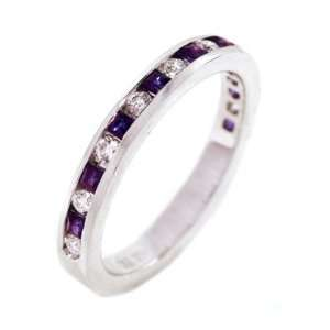 18k White Gold Natural Sapphire & Diamond Half Circle Ring