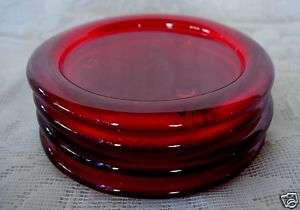 Beautiful Set of 4 Ruby Red Glass Coasters   NEW
