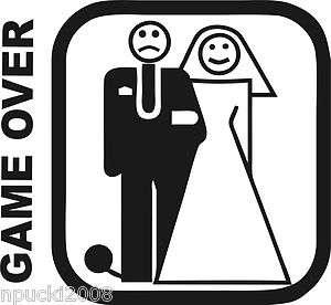 1x Game Over Nr.2 Hochzeit Auto Aufkleber Sticker Shocker