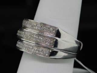 MENS WHITE GOLD FINISH PAVE DIAMOND WEDDING BAND RING