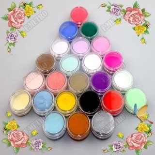 24 Colourful Professional Nail Acrylic Powder Dust Builder Set 3D Nail