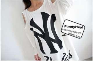 2011 New Korean Women Batwin Strapless Casual Loose T shirt Top 4