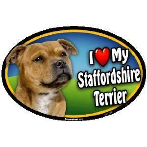 Oval Car Magnet   I Love My Staffordshire Bull Terrier