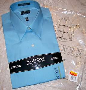 NEW Sealed 16 34/35 ARROW FITTED W/F DRESS SHIRT Blue Ice $38
