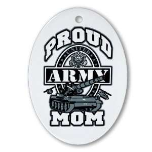 Ornament (Oval) Proud Army Mom Tank