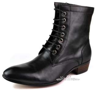 Mens real leather Boots Lace up Dress or Casual Black or Brown