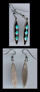 ZUNI INDIAN STERLING SILVER 3 TRIANGLE TURQUOISE DROP EARRINGS