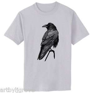 SINGLE RAVEN Bird Crow Art T Shirt Youth   Adult