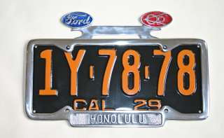 NEW! FORD V8 License Plate Frame Tag Topper Rat Hot Rod