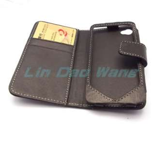 GENUINE LEATHER CASE COVER POUCH + LCD FILM BOOK FOR APPLE IPHONE 4 4G