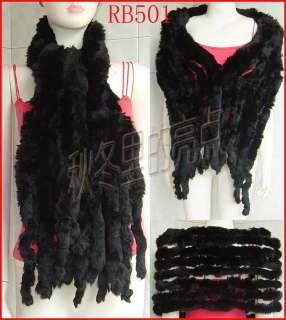 RB501 Black Real Rex Rabbit Fur Shawl Scarf Stole