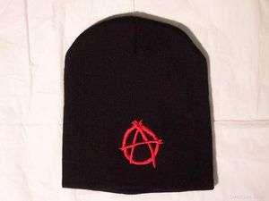 Sewn Red Anarchy Black Beanie Ski Cap Metal Punk Rock Biker New