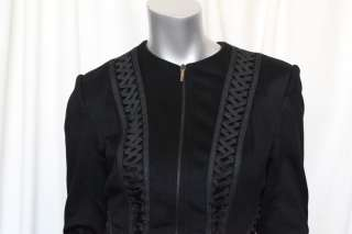 CHRISTIAN DIOR Black CASHMERE Corset Lacing Cropped Lace Up Jacket