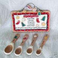 Christmas MEASURING SPOON 4 TEASPOONS Holiday Wall Sign